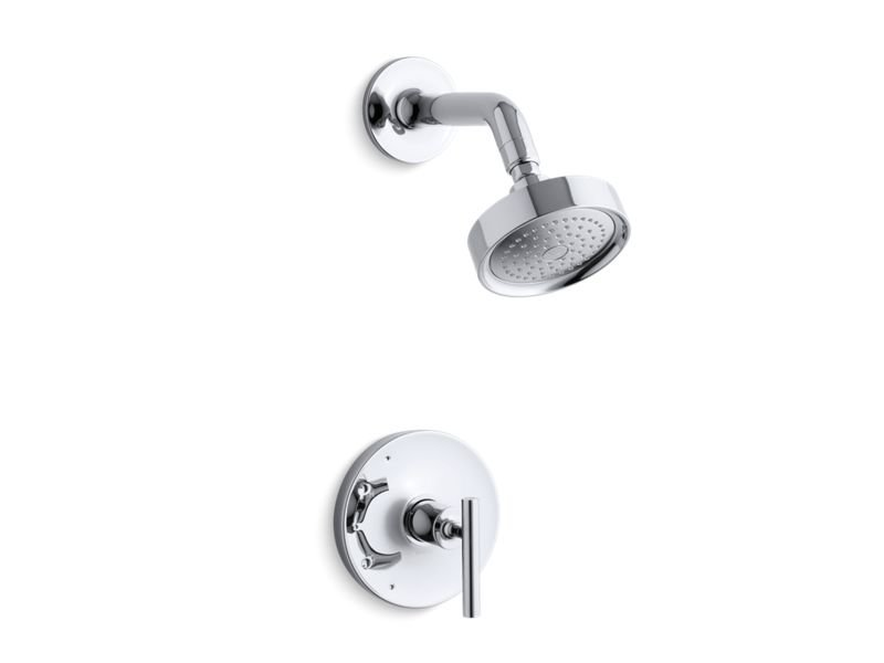 Kohler K-TS14422-4-CP Purist Rite-temp Shower Valve Trim with Lever Handle and 2.5 Gpm Showerhead in Polished Chrome