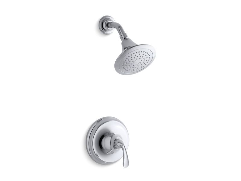 Kohler K-TS10276-4-CP Forte Sculpted Rite-temp Shower Valve Trim with 2.5 Gpm Showerhead in Polished Chrome