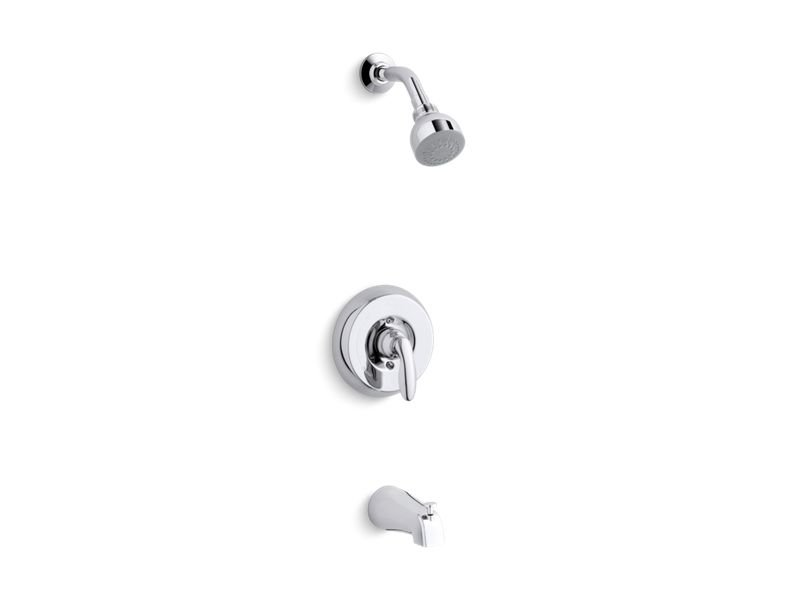 Kohler K-TS15601-4S-CP Coralais Rite-temp Bath and Shower Valve Trim with Lever Handle, Slip-fit Spout and 2.5 Gpm Showerhead in Polished Chrome
