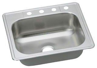 "Elkay Dayton DSE125223 25"" X 22"" 8-1/16"" Elite Satin Stainless Steel 3-Hole 1-Bowl Kitchen Sink"