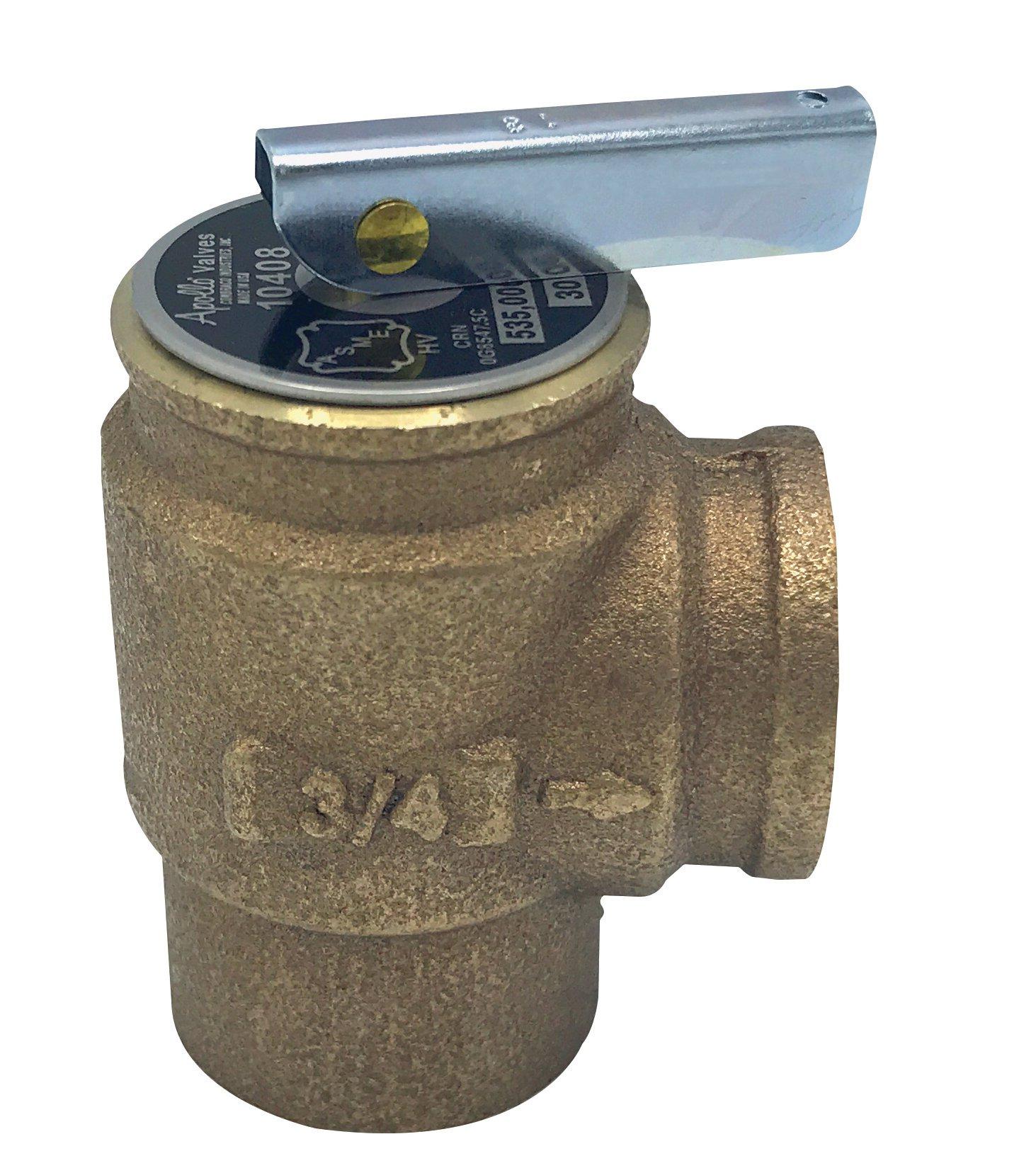 """Walrich 1725008 3/4"""" X 3/4"""" Fptxfpt 30Psi Boiler Relief Valve"""
