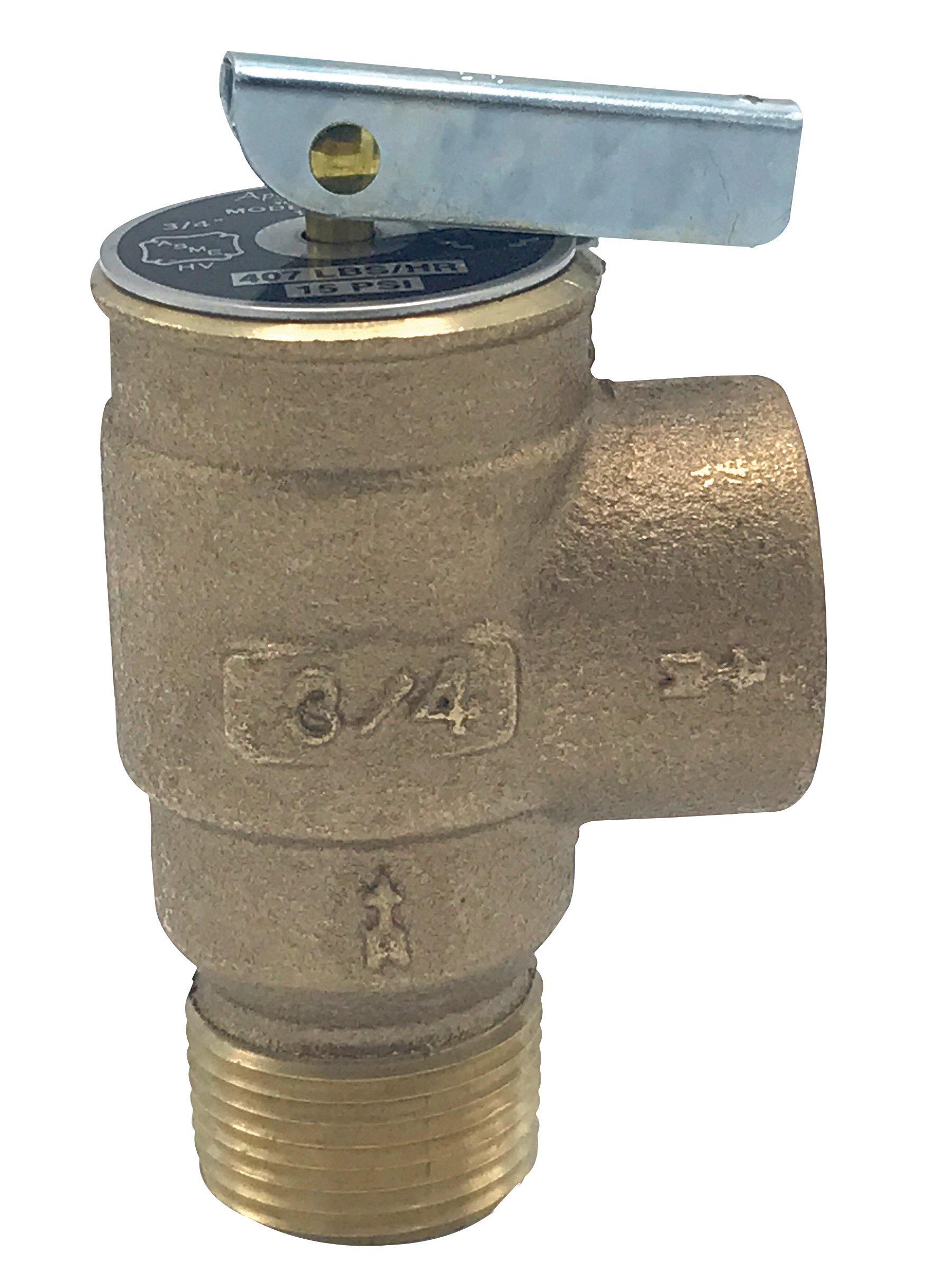 "Walrich 1727001 15Psi 3/4"" Standard Side Outlet Pop Boiler Relief Valve"