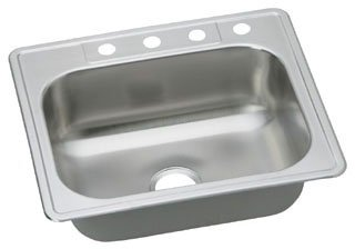 "Elkay Dayton DSE125224 25"" X 22"" 8-1/16"" Elite Satin Stainless Steel 4-Hole 1-Bowl Kitchen Sink"