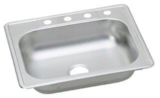 "Elkay Kingsford K125224 25"" X 22"" 6-1/16"" Satin Stainless Steel 4-Hole 1-Bowl Kitchen Sink"