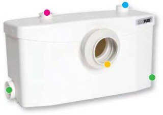 "Saniflo Saniplus 2 0"" X 7"" X 10-5/8"" Macerator Macerating Toilet Pump"