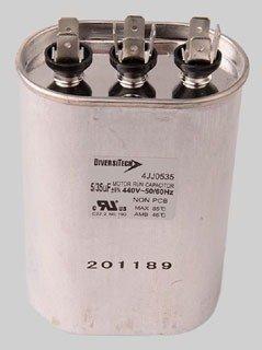 Diversitech 4JJ0535 35/5Microfarad 440Vac Metal Dual Oval Motor Run Capacitor