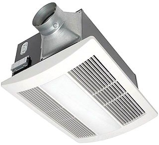 Panasonic FV-11VHL2 White Whisper Warm 110 CFM 0.7 Sone Ceiling Mounted Bath Fan and Heater Combination with Light