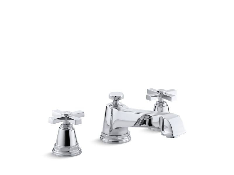 Kohler K-T13140-3A-CP Pinstripe Pure Deck-Mount Bath Faucet Trim for High-Flow Valve with Cross Handles, Valve Not Included in Polished Chrome