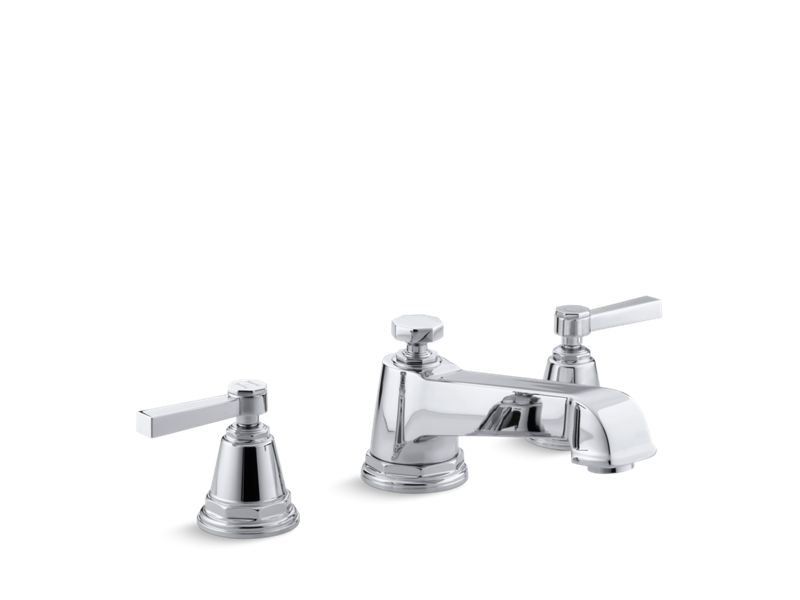 Kohler K-T13140-4A-CP Pinstripe Pure Deck-Mount Bath Faucet Trim for High-Flow Valve with Lever Handles, Valve Not Included in Polished Chrome