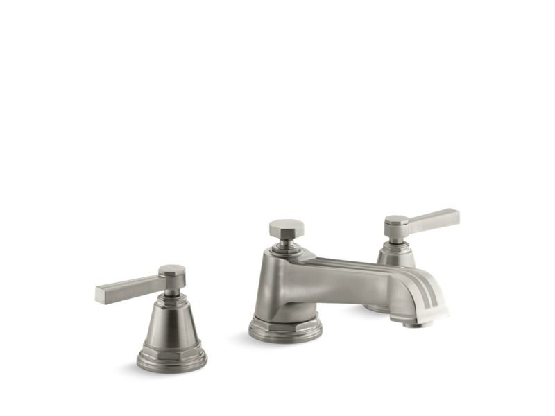 Kohler K-T13140-4B-BN Pinstripe Deck-Mount Bath Faucet Trim for High-Flow Valve with Lever Handles, Valve Not Included in Vibrant Brushed Nickel
