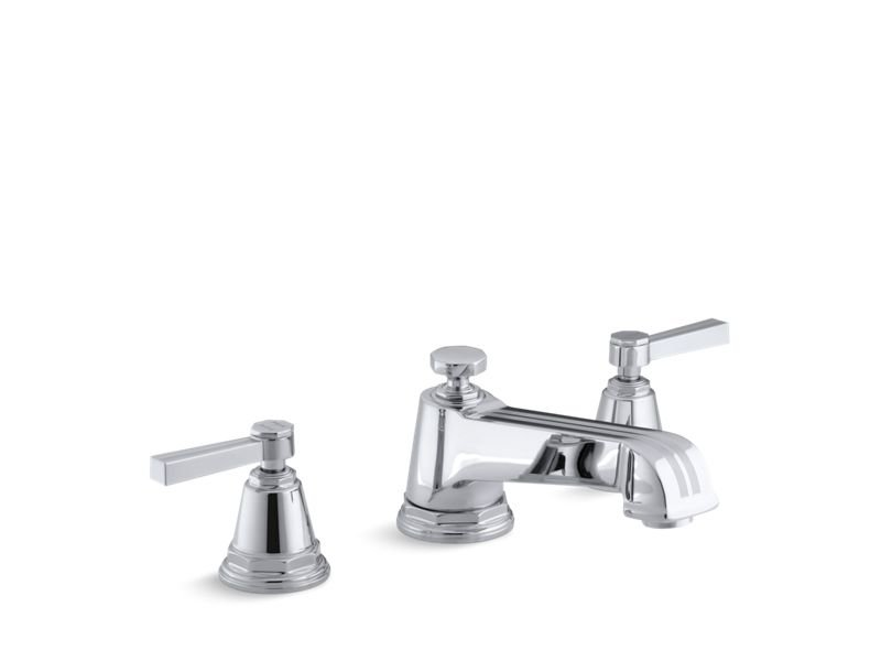 Kohler K-T13140-4B-CP Pinstripe Deck-Mount Bath Faucet Trim for High-Flow Valve with Lever Handles, Valve Not Included in Polished Chrome