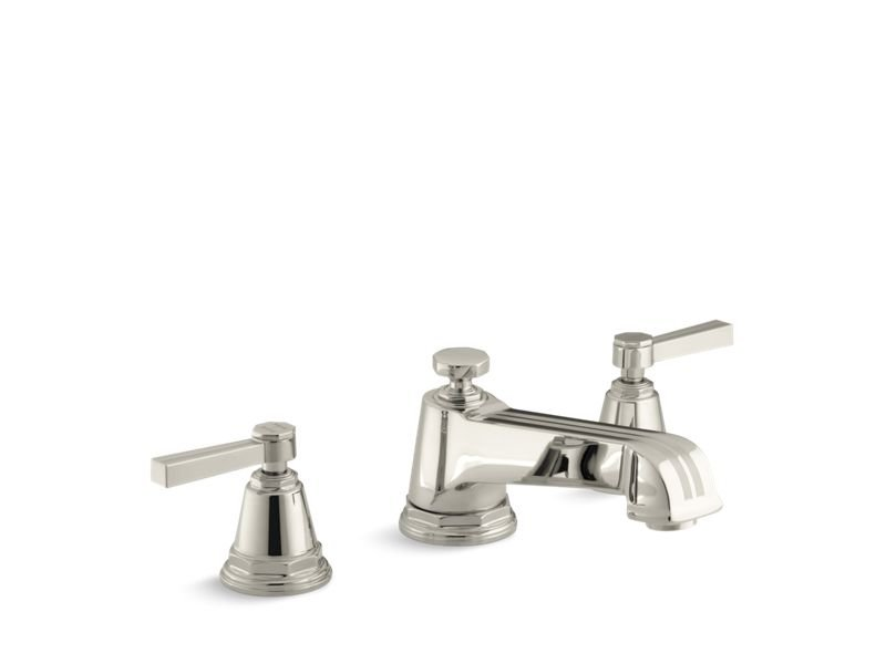 Kohler K-T13140-4B-SN Pinstripe Deck-Mount Bath Faucet Trim for High-Flow Valve with Lever Handles, Valve Not Included in Vibrant Polished Nickel