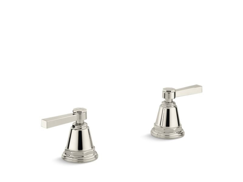 Kohler K-T13141-4A-SN Pinstripe Pure Deck-mount High-flow Bath Valve Trim with Lever Handles, Handles Only, Valve Not Included in Vibrant Polished Nickel
