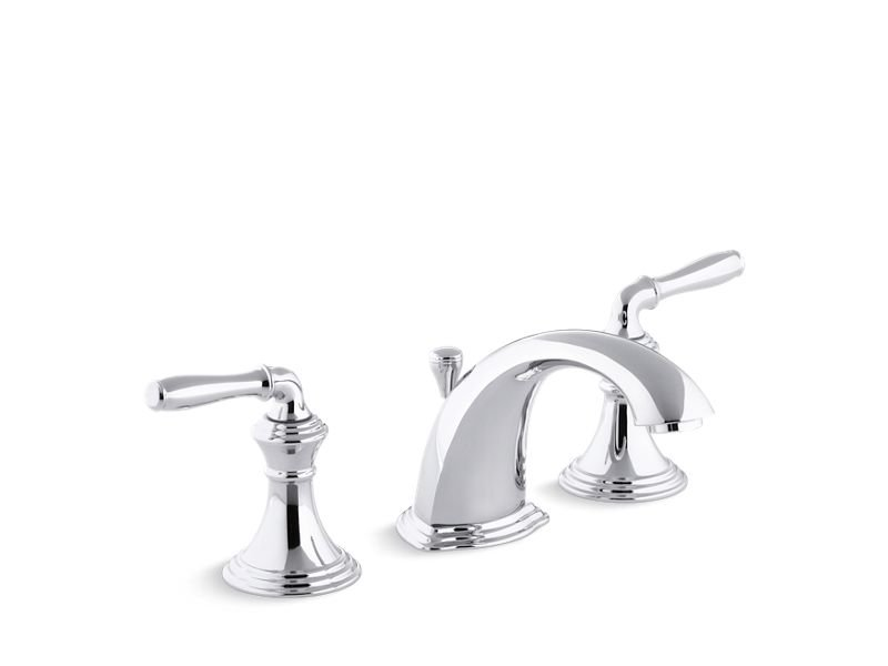 Kohler K-394-4-CP Devonshire Widespread Bathroom Sink Faucet with Lever Handles in Polished Chrome