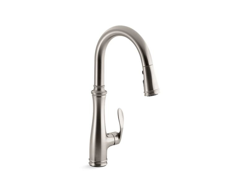 """Kohler K-560-VS Bellera Single-Hole or Three-Hole Kitchen Sink Faucet with Pull-Down 16-3/4"""" Spout and Right-Hand Lever Handle, Docketed Magnetic Docking System, and A 3-Function Sprayhead Featuring Sweep Spray in Vibrant Stainless"""