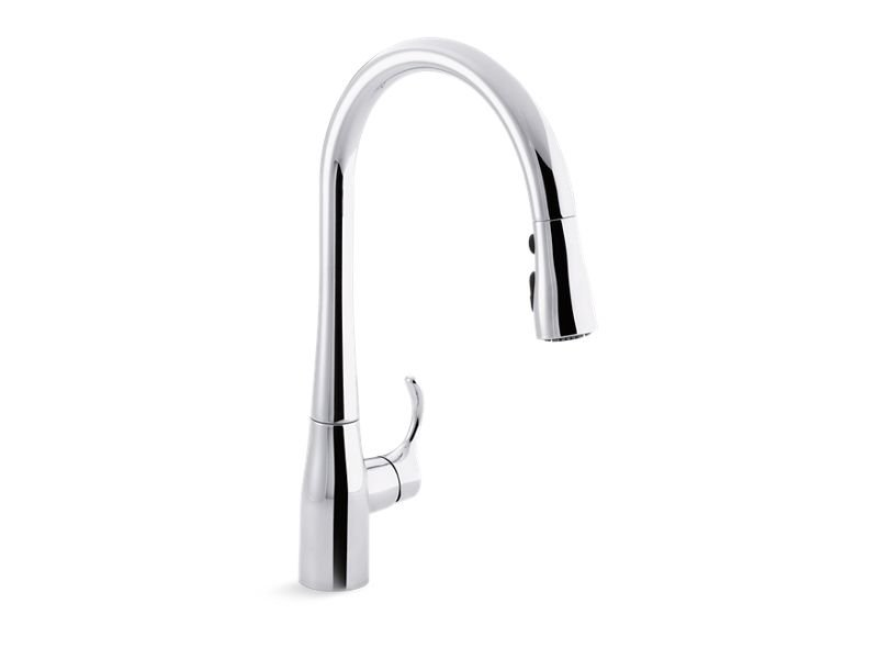 """Kohler K-596-CP Simplice Single-Hole or Three-Hole Kitchen Sink Faucet with 16-5/8"""" Pull-Down Spout, Docketed Magnetic Docking System, and A 3-Function Sprayhead Featuring Sweep Spray in Polished Chrome"""