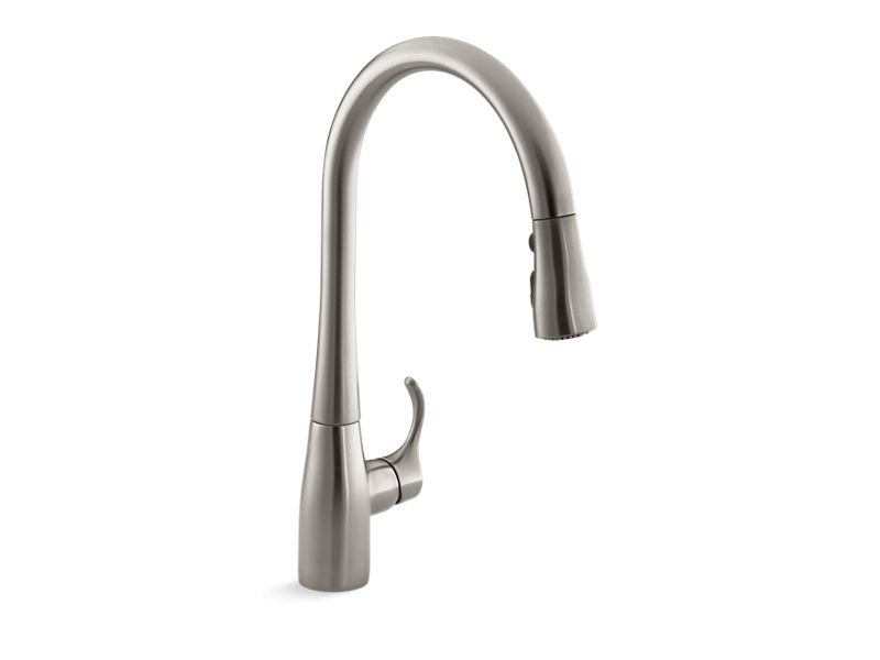 "Kohler K-596-VS Simplice Single-Hole or Three-Hole Kitchen Sink Faucet with 16-5/8"" Pull-Down Spout, Docketed Magnetic Docking System, and A 3-Function Sprayhead Featuring Sweep Spray in Vibrant Stainless"
