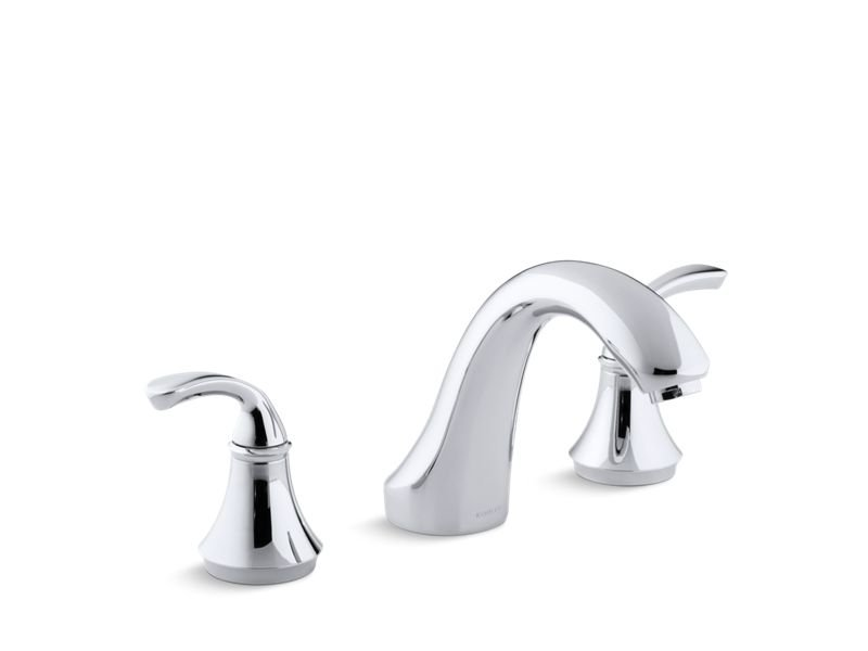 Kohler K-T10278-4-CP Fort Sculpted Deck-Mount Bath Faucet Trim For High-Flow Valve, Valve Not Included in Polished Chrome