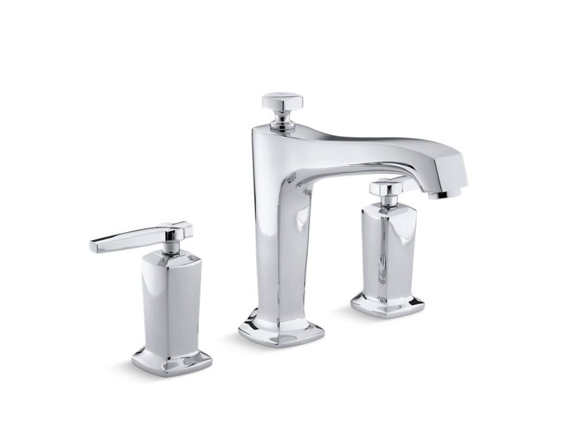 Kohler K-T16236-4-CP Margaux Deck-Mount Bath Faucet Trim for High-Flow Valve with Diverter Spout and Lever Handles, Valve Not Included in Polished Chrome