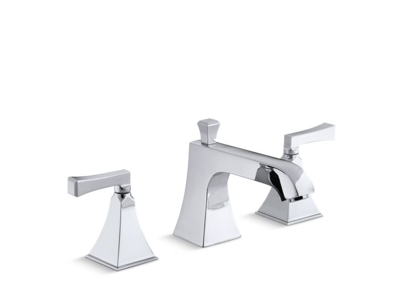 Kohler K-T428-4V-CP Memoirs Stately Deck-Mount Bath Faucet Trim for High-Flow Valve with Diverter Spout and Deco Lever Handles, Valve Not Included in Polished Chrome