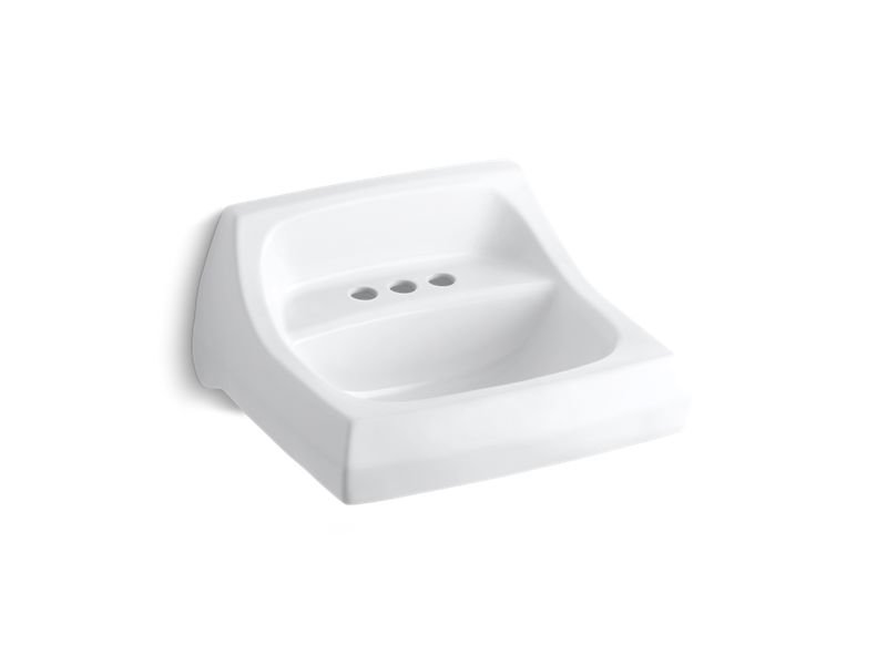 """Kohler K-2005-0 Kingston 21-1/4"""" X 18-1/8"""" Wall-Mount/Concealed Arm Carrier Bathroom Sink with 4"""" Centerset Faucet Holes in White"""