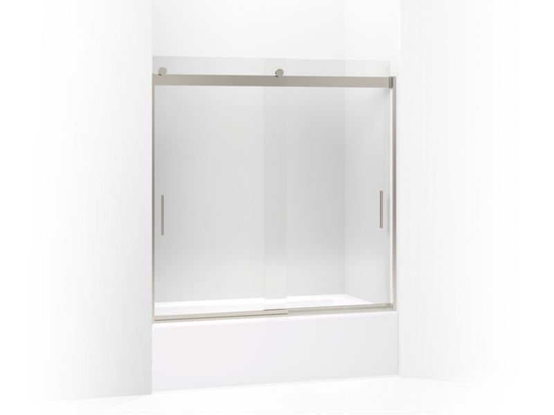 """Kohler K-706001-L-MX Levity Sliding Bath Shower Door, 59-3/4"""" H X 54 - 57"""" W, with 1/4"""" Thick Crystal Clear Glass and Blade Handles in Matte Nickel"""