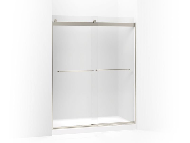"""Kohler K-706015-D3-MX Levity Sliding Shower Door, 74"""" H X 56-5/8 - 59-5/8"""" W, with 1/4"""" Frosted Glass and Towel Bars in Matte Nickel"""