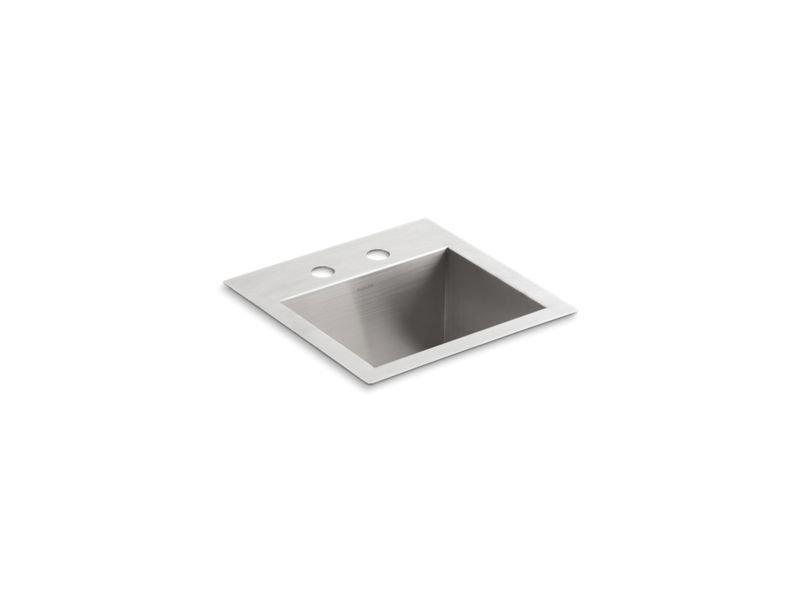 Kohler K-3840-2-NA Vault Top/Under-Mount Bar Sink with 2 Faucet Holes