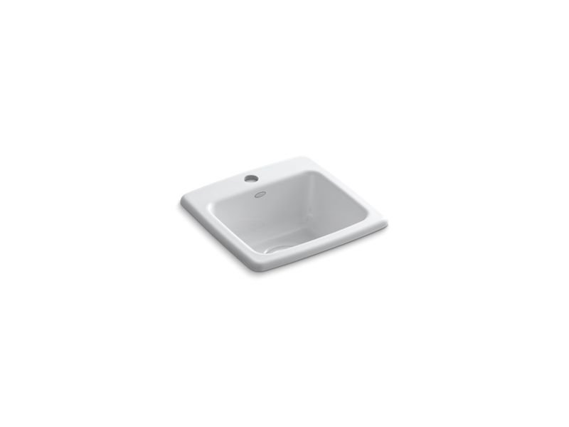 Kohler K-6015-1-0 Gimlet Top-Mount Bar Sink with Single Faucet Hole in White