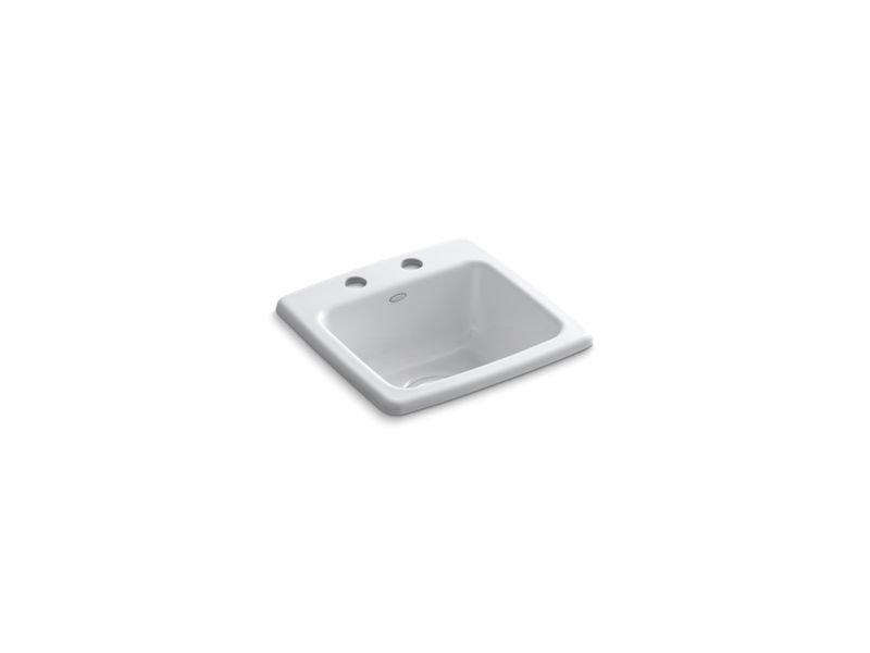 Kohler K-6015-2-0 Gimlet Top-Mount Bar Sink with 2 Faucet Holes in White