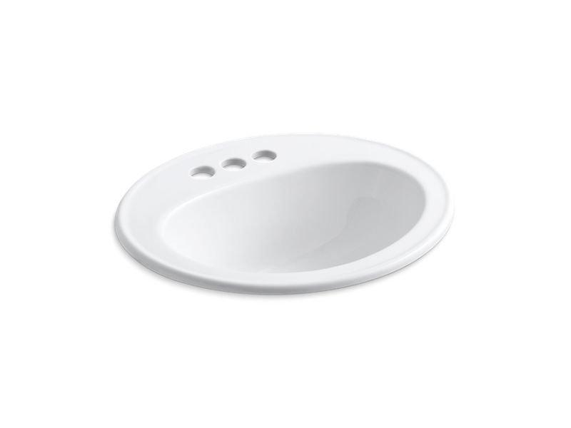 Kohler K-2196-4-0 Pennington Drop-In Bathroom Sink with Centerset Faucet Holes in White