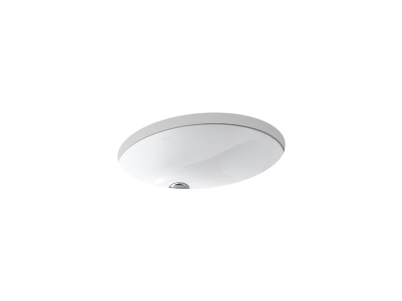 """Kohler K-2210-0 Caxton Oval 17"""" x 14"""" Under-Mount Bathroom Sink with Overflow and Clamp Assembly in White"""