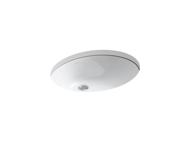 """Kohler K-2211-0 Caxton Oval 19"""" x 15"""" Under-Mount Bathroom Sink with Overflow and Clamp Assembly in White"""