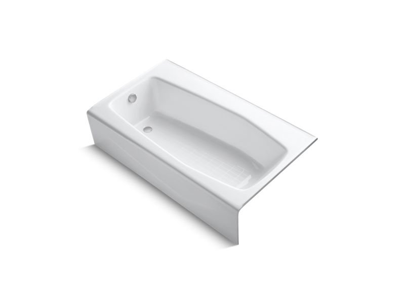 "Kohler K-713-0 Villager 60"" x 34"" Alcove Bath with Left-Hand Drain in White"