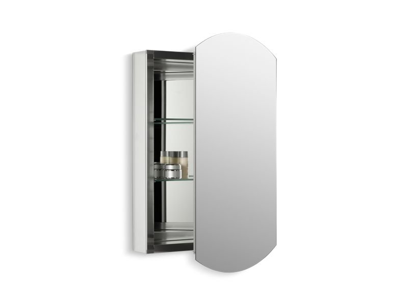 "Kohler K-3073-NA Archer 20"" W X 31"" H Aluminum Single-Door Medicine Cabinet with Beveled Edges"