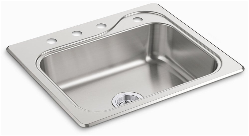 """Sterling Southhaven 11403-4-NA 25"""" X 22"""" 6-1/2"""", 4-Hole, Satin Deck, Luster Bowl, Stainless Steel, Top Mount, 1-Bowl, Kitchen Sink"""