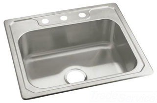 """Sterling Middleton 14711-3-NA 25"""" X 22"""" X 8"""" Satin/Luster Stainless Steel 3-Hole 1-Bowl Kitchen Sink"""