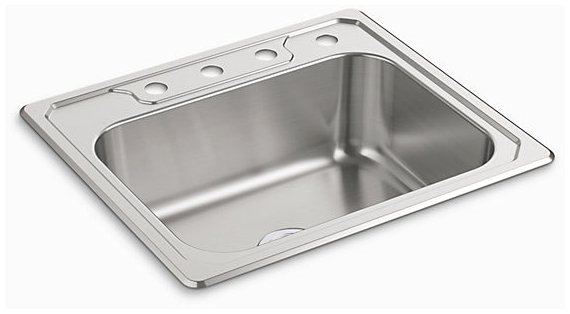 """Sterling Middleton 14711-4-NA 25"""" X 22"""" 8"""", 4-Hole, Satin Deck, Luster Bowl, Stainless Steel, Top Mount, 1-Bowl, Kitchen Sink"""