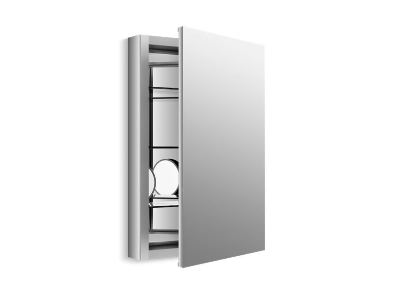 "Kohler K-99003-NA Verdera 20"" W X 30"" H Aluminum Medicine Cabinet with Adjustable Magnifying Mirror and Slow-Close Door"