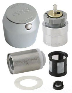 "Chicago Mvp 665-RKPABCP 1-3/4"" Chrome Metal Pushbutton Metering Faucet Retrofit Kit"