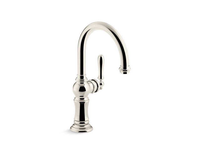 Kohler K-99264-SN Artifacts Single-Handle Bar Sink Faucet with 13-1/16 Swing Spout with Arc Spout Design in Vibrant Polished Nickel